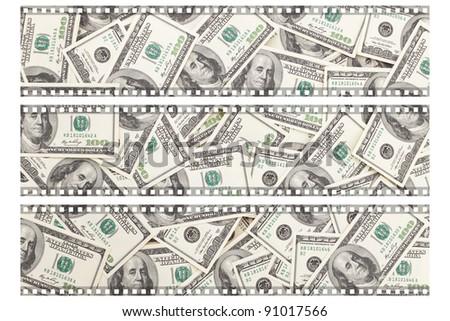 Money Pile $100 dollar bills, film
