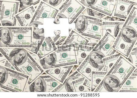 Money Pile $100 dollar bills, puzzle