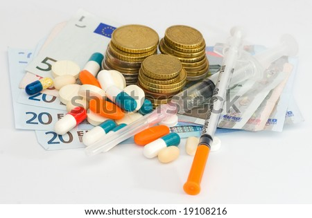 money , pills and a needle