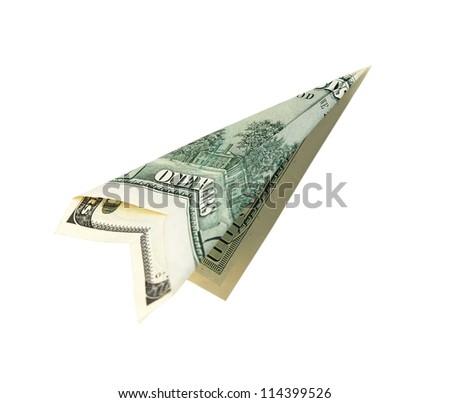 Money plane isolated on white background