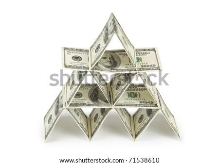 Money pyramid isolated on white background