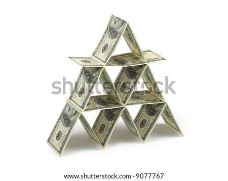 Money pyramid, isolated on white background