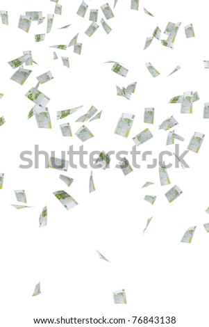 Money rain of 100 euro banknotes