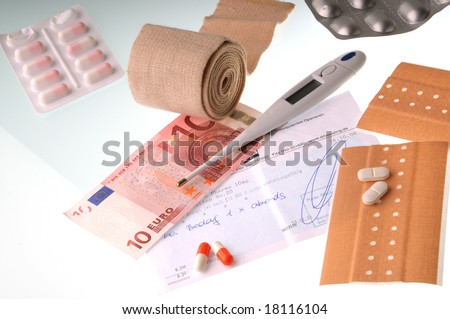 Money, Recipe, first aid equipment on white background