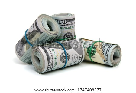 money roll dollars isolated on the white background stock photo