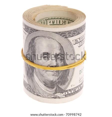 Money roll, roll of bills, roll of dollar bills.