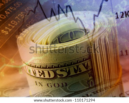 Money roll with US dollars. Finance system concept.