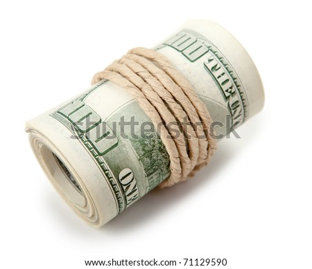 Money rolled in a tube and tied with rope