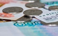 Money. Russian roubles coins and bills