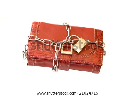 Money savings concept by chain purse.