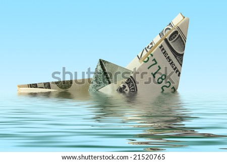 money ship wreck in water