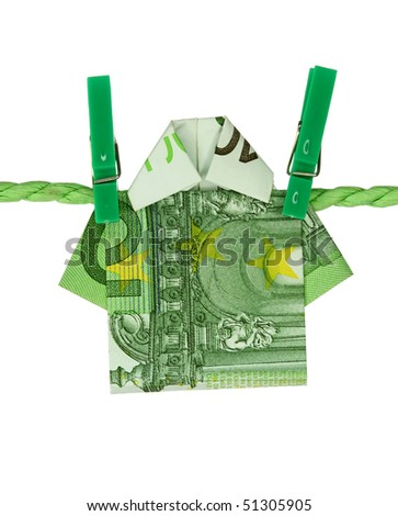 Money shirt laundering on clothesline isolated on white background