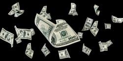 Money stack. Hundred dollars of America. Falling money isolated, us bill black background
