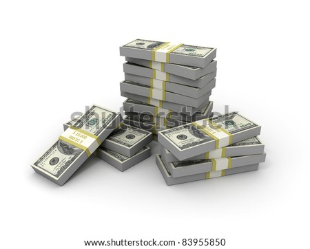 Money stack. piles of cash