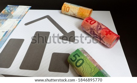 Money; Swiss franc banknote and graphs; Financial Trend Analysis concept . Business, Finance, Economy, Investment and trade concepts Foto stock ©