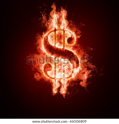 Money symbol open arms fire on a black background