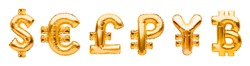Money symbols made of golden balloons. Dollar, euro, pound, ruble, yen and bitcoin. Major monetary units of the world, currency symbols made of inflatable foil balloon. Investment and banking concept.