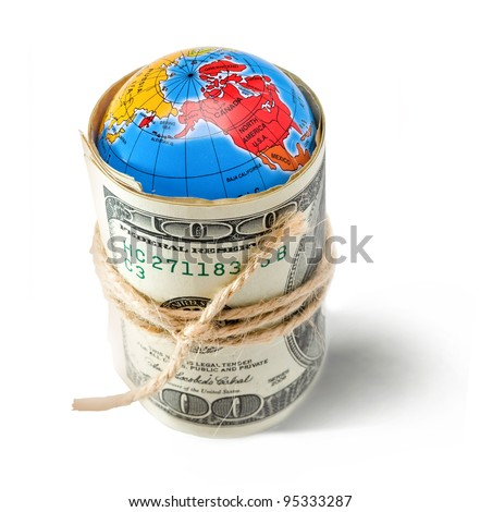 money taken over the world into a tight knot