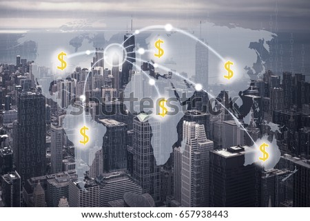 Money Transfer concept and city background #657938443