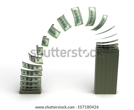 Money Transfer (isolated with clipping path)