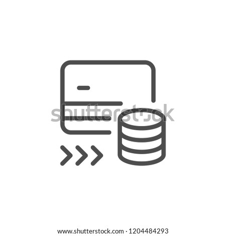 Money transfer line icon isolated on white
