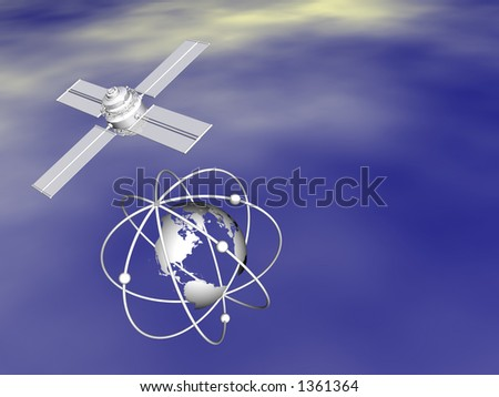 Money transfers over the net, satellite connections worldwide.  Communication  illustration concept