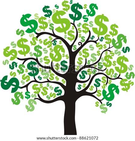 money tree isolated on White background.  illustration