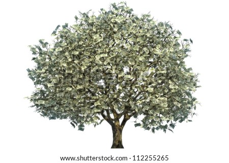 Money tree, large tree with money for leaves on a white background.