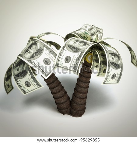 money tree made of hundred dollar bills