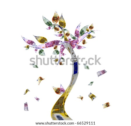 Money tree with euro bank notes
