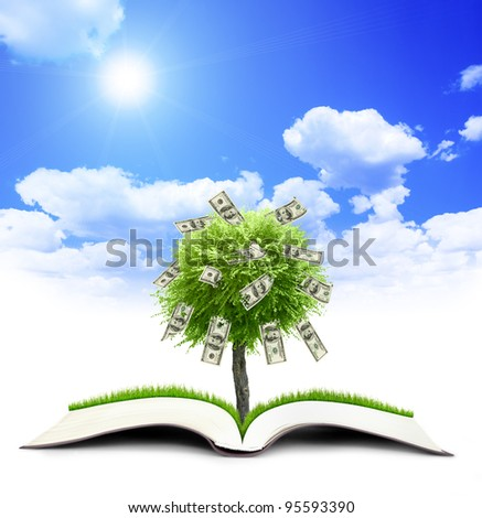Money treebook grow from book nature on sky background