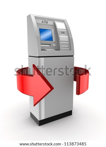 Money turnover concept.Isolated on white background.3d rendered.