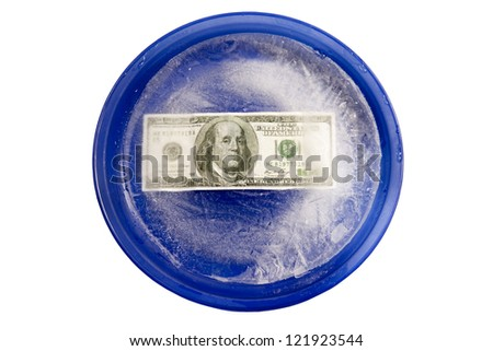 Money With Freezer Burn On A Blue Plate. XXXL