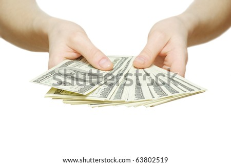 money with hand isolated on white