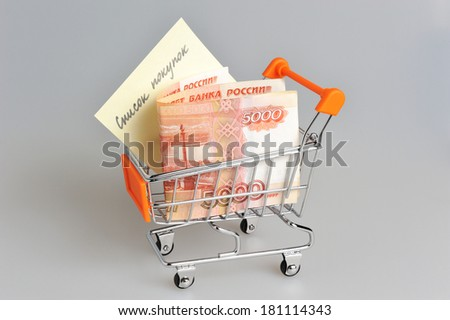 Money with list of purchases in shopping cart on gray background
