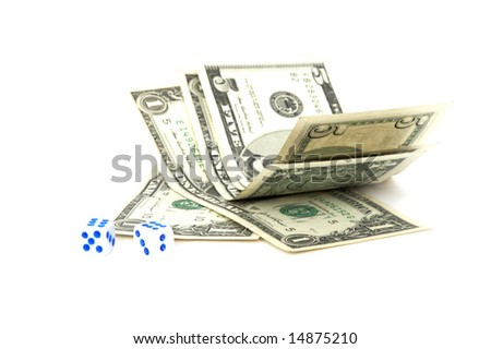 Money with playing bones, isolated