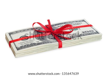 Money with red ribbon