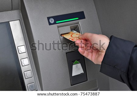 Money withdrawal ATM, automatic bank machine, account banking