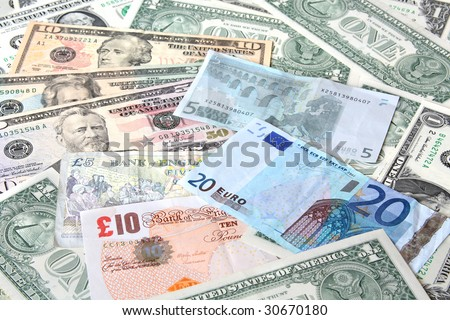 Money. World currencies: U.S. dollars, euros. Banknotes