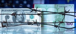 Money wrapped in barbed wire against United States and European Union flags as symbol of joint economic warfare, sanctions and embargo busting