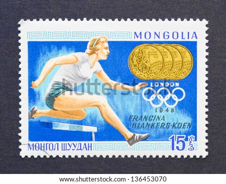 MONGOLIA - CIRCA 1969: a postage stamp printed in Mongolia showing an image of the olympic athlete gold medal winner Francina Blankers-Koen, circa 1969.