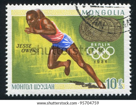 MONGOLIA - CIRCA 1968: A stamp printed by Mongolia, shows runner, Jesse Owens, circa 1968