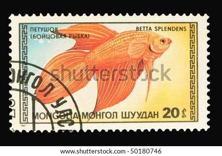 MONGOLIA - CIRCA 1987: A stamp printed in Mongolia showing fish circa 1987