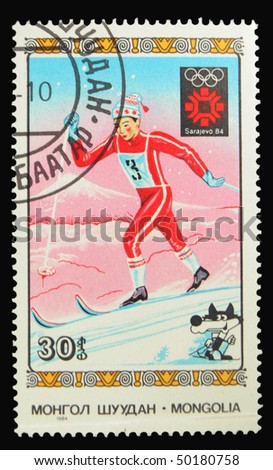 MONGOLIA - CIRCA 1984: A stamp printed in Mongolia showing Winter Olympic Games in Sarajevo circa 1984