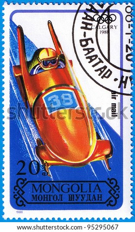 MONGOLIA - CIRCA 1988: A stamp printed in Mongolia shows bobsleigh, series devoted Olympic Games in Calgary, circa 1988