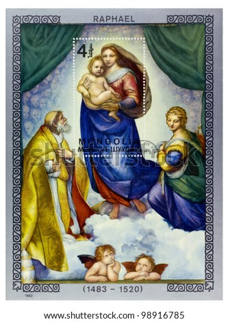 MONGOLIA - CIRCA 1983: A stamp printed in MONGOLIA shows Madonna and Child paintings by Raphael (1483-1520), series, circa 1983