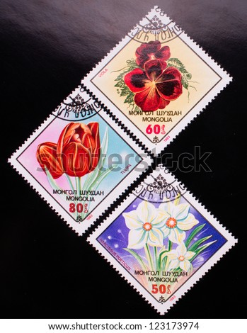 MONGOLIA - CIRCA 1983: A stamp printed in Mongolia shows three kinds of colorful flowers, circa 1983.
