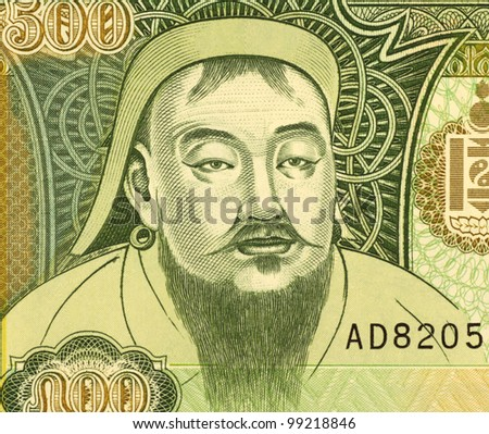 MONGOLIA - CIRCA 1997: Genghis Khan (1162-1227) on 500 Tugrik 1997 Banknote from Mongolia. Founder, ruler & emperor of the Mongol Empire which became the largest empire in history after his death.