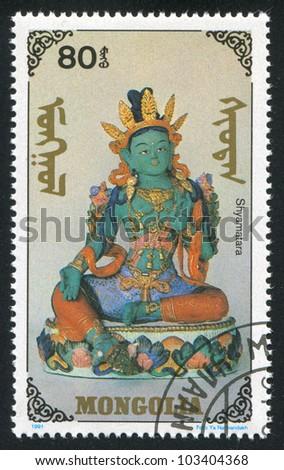 MONGOLIA - CIRCA 1991: stamp printed by Mongolia, shows Shyamatara, circa 1991
