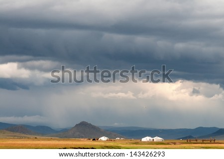 Mongolian landscape in stormy weather